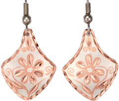 Floral Design Copper Earrings