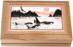 Killer Whale Rectangular Wooden Box