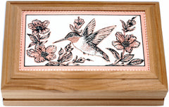 Hummingbird Rectangular Wooden Box