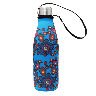 Norval Morrisseau Flowers and Birds Water Bottle and Sleeve - Oscardo