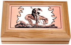 Western Cowboy Stampede Rectangular Wooden Box