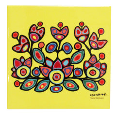 Norval Morrisseau Floral on Yellow Ceramic Tile-Trivet