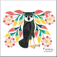 Kenojuak Ashevak Owl's Bouquet Ceramic Tile-Trivet