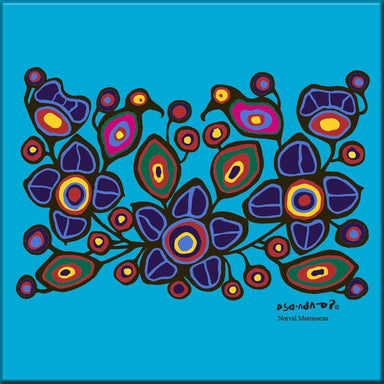 Norval Morrisseau Flowers and Birds Ceramic Tile-Trivet - Oscardo