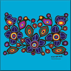 Norval Morrisseau Flowers and Birds Ceramic Tile-Trivet