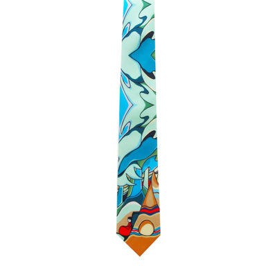 Daphne Odjig And Some Watched The Sunset Artist Design Silk Tie - Oscardo
