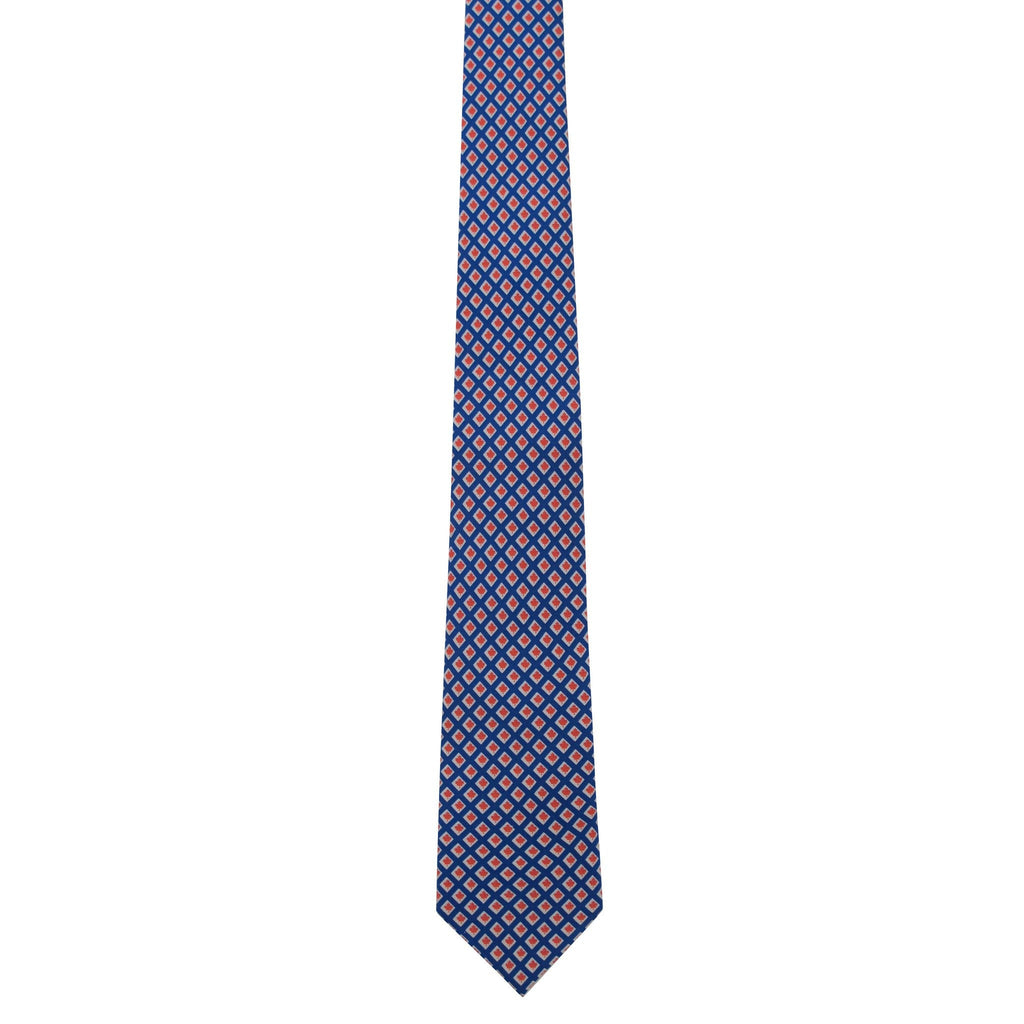 Maple Leaf Squares Silk Tie (Navy)