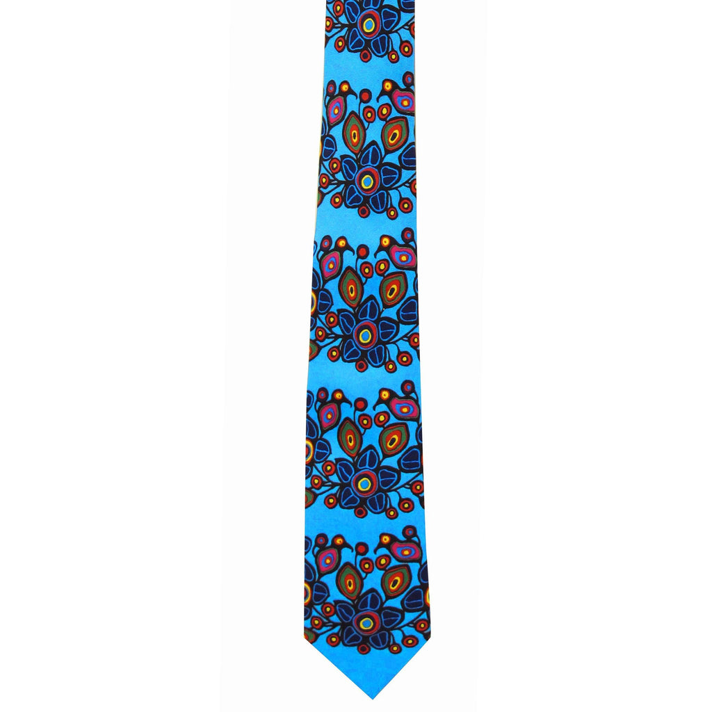 Norval Morrisseau Flowers and  Birds Artist Design Silk Tie