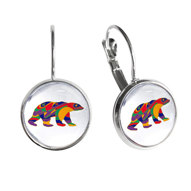 Dawn Oman Alpha Bear Dome Glass Earrings - Oscardo