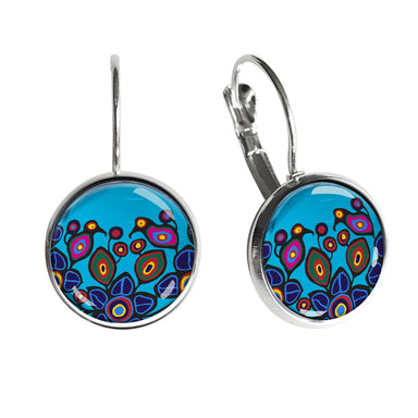 Norval Morrisseau Flowers and Birds Dome Glass Earrings - Oscardo