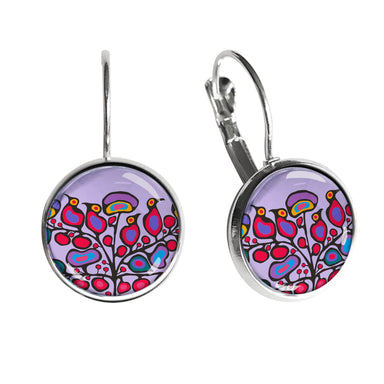 Norval Morrisseau Woodland Floral Dome Glass Earrings - Oscardo