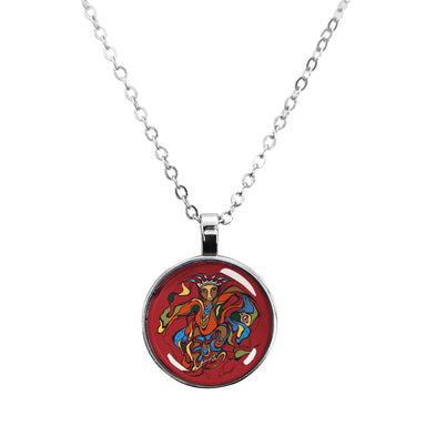 Daphne Odjig Pow Wow Dancer Dome Glass Necklace - Oscardo