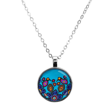 Norval Morrisseau Flowers and Birds Dome Glass Necklace - Oscardo