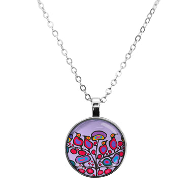 Norval Morrisseau Woodland Floral Dome Glass Necklace - Oscardo