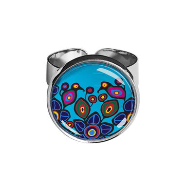 Norval Morrisseau Flowers and Birds Dome Glass Ring - Oscardo