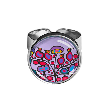 Norval Morrisseau Woodland Floral Dome Glass Ring - Oscardo