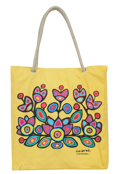 Norval Morrisseau Floral on Yellow Eco-Bag - Oscardo