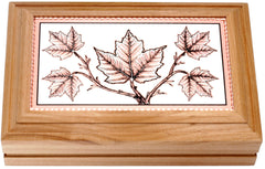 Maple Leaves with Canada Rectangular Wooden Box