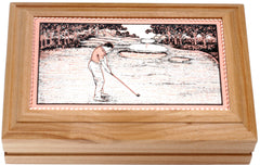 Golfing Rectangular Wooden Box