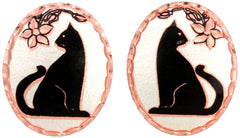 Cat Copper Stud Earrings