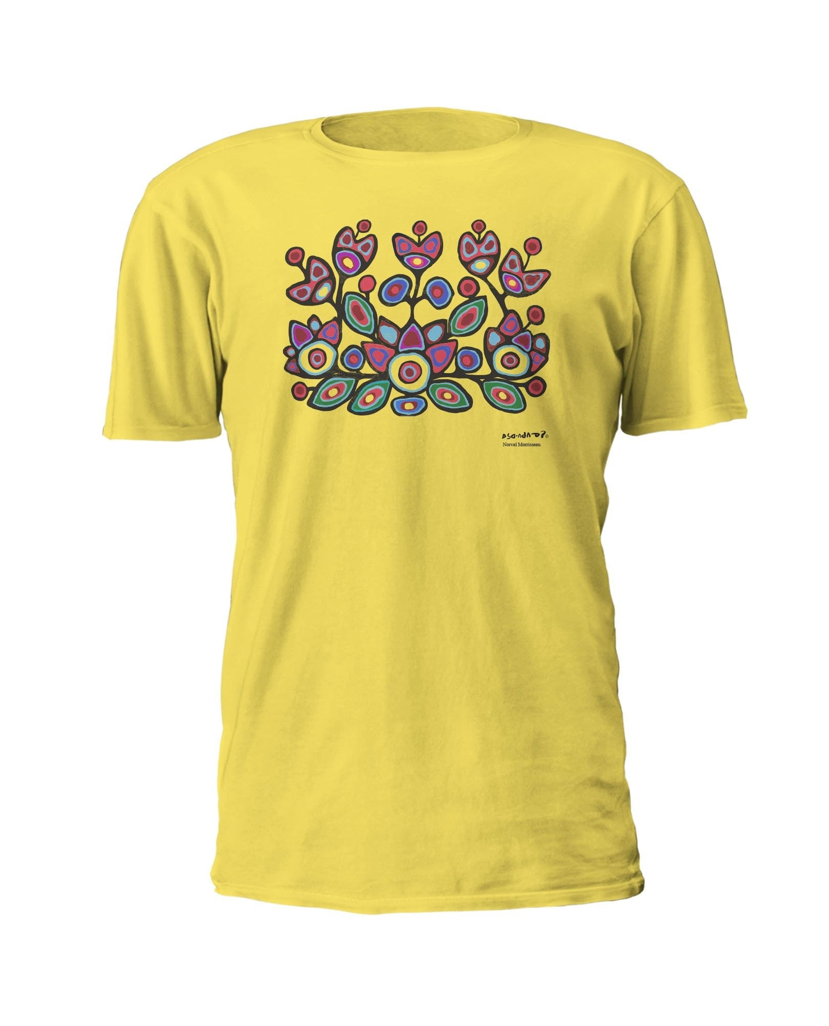 Norval Morrisseau Floral on Yellow Artist T-shirt