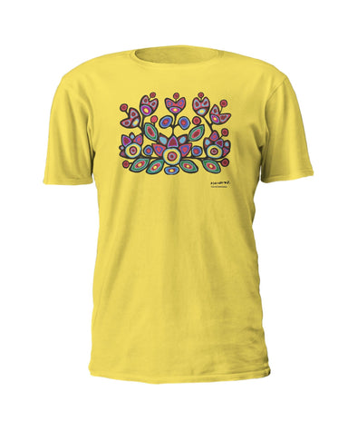 Norval Morrisseau Floral on Yellow Artist T-shirt (min. 24) - Oscardo