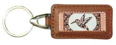 Native Hummingbird Rectangular Leather Key chain