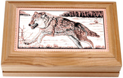 Wolf Rectangular Wooden Box