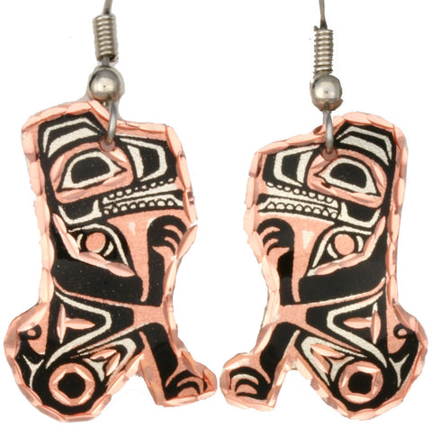 Native Wolf Copper Earrings