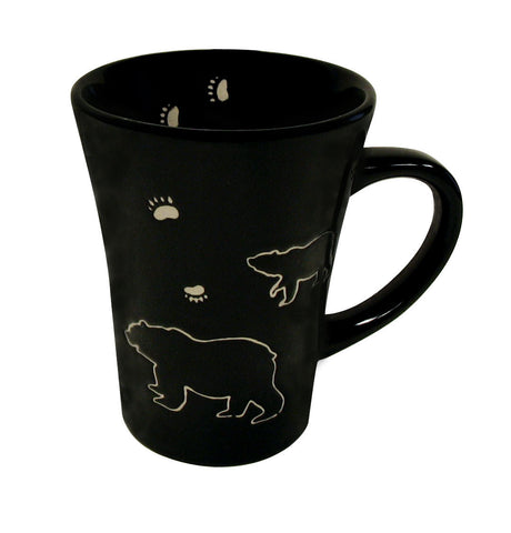 Bear Black Stoneware Engraved Mug