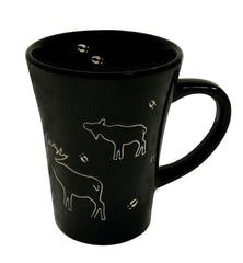 Moose Black Stoneware Engraved Mug