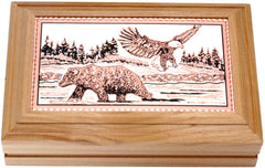 Bear and Eagle Rectangular Wooden Box