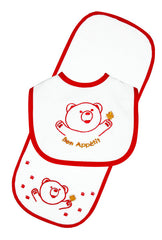 Bear Bib & Burp Pad Set - Red