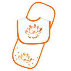 Moose Bib & Burp Pad Set - Orange
