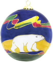 Dawn Oman Polar Bear Glass Ornament