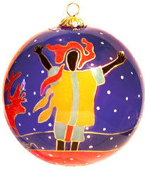 Dawn Oman Snow Angels Glass Ornament