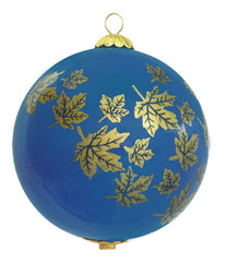 Maple Leaves Glass Ornament - Blue