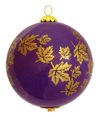 Maple Leaves Glass Ornament - Purple