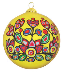Norval Morrisseau Floral on Yellow - Glass ornament