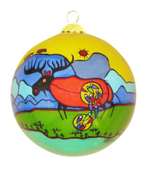 Norval Morrisseau Giant Moose - Glass Ornament