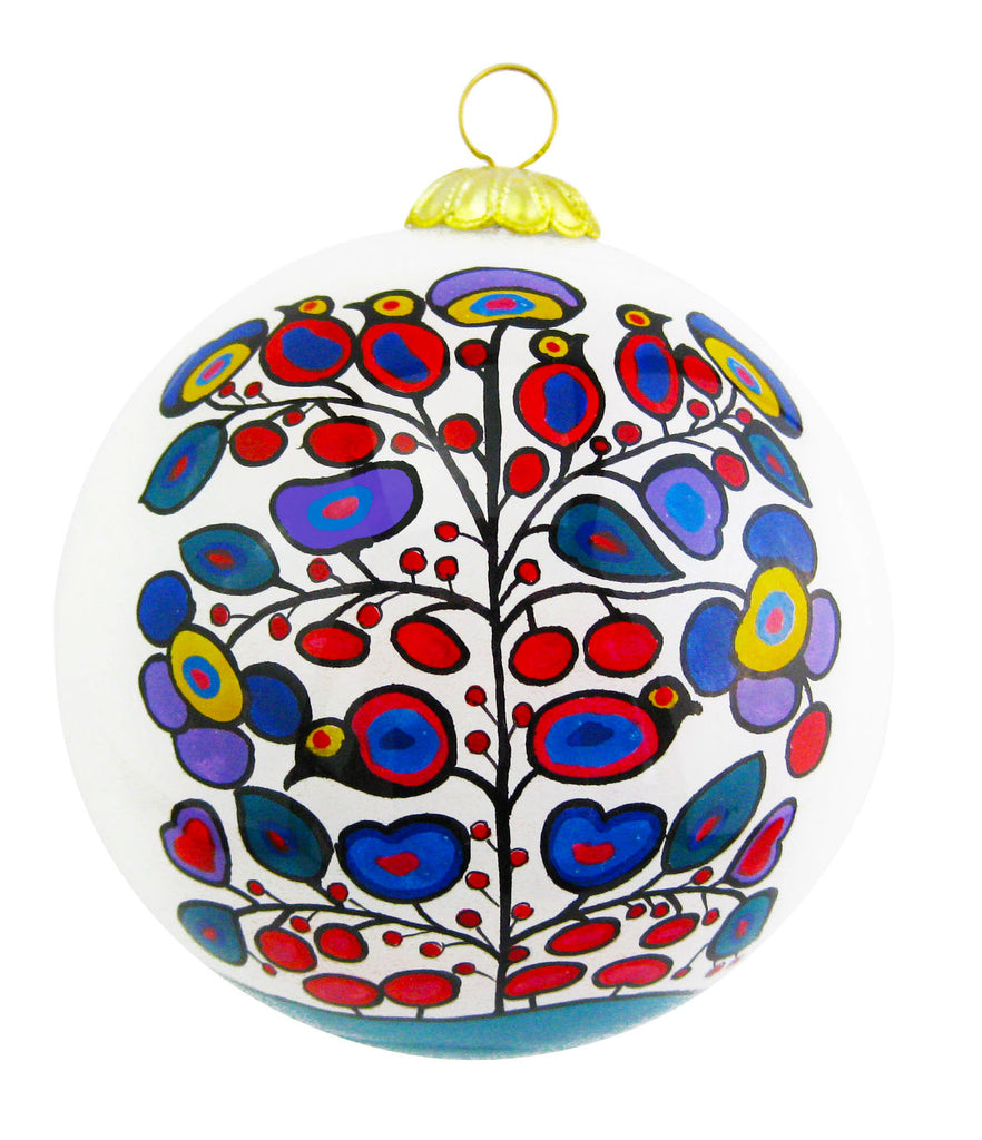 Norval Morrisseau Woodland Floral Glass Ornament