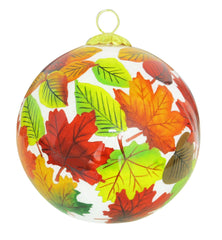 'Fall Leaves' Glass Ornament