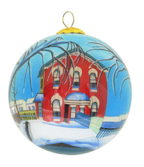Lawren Harris Red House in Winter Glass Ornament