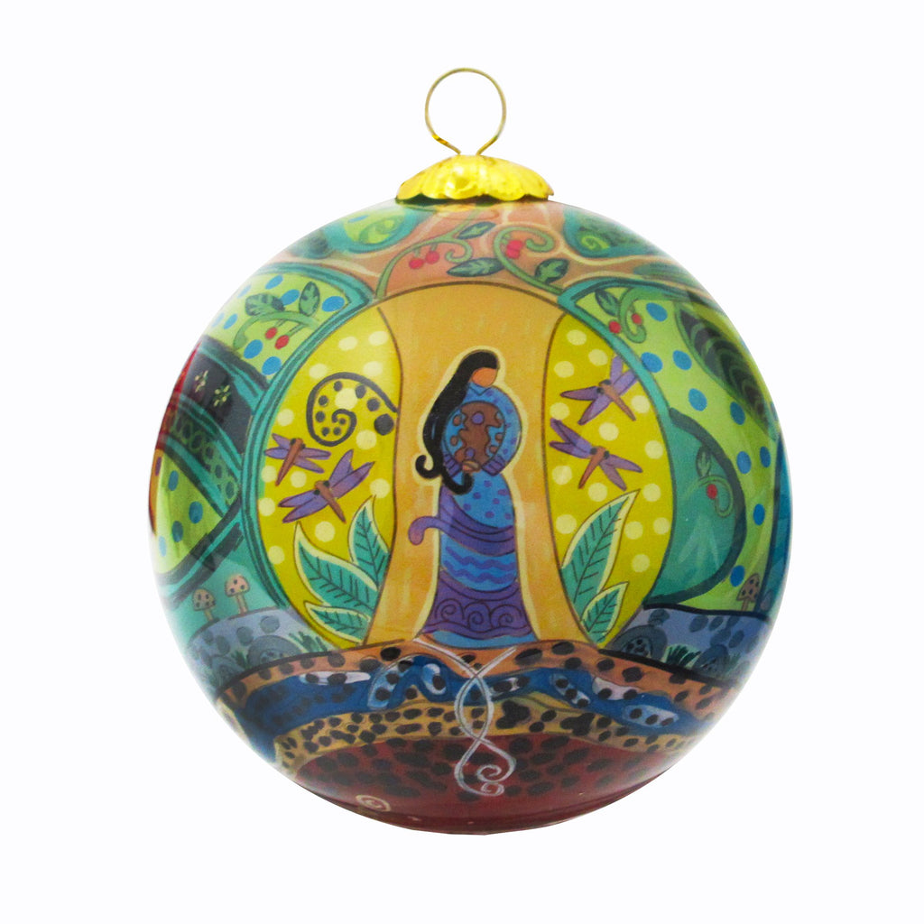 Leah Dorion Strong Earth Woman Glass Ornament - available March 2020