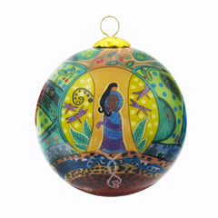 Leah Dorion Strong Earth Woman Glass Ornament