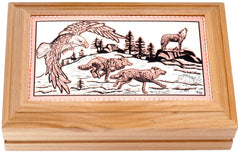 Wolf and Eagle Rectangular Wooden Box