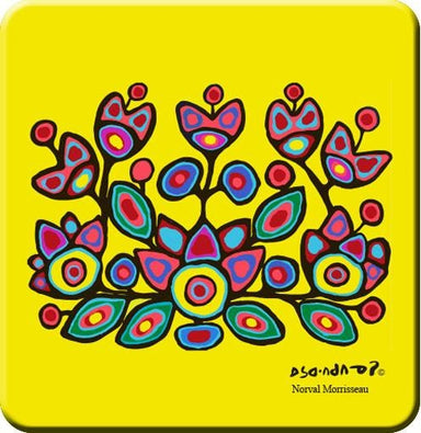 Norval Morrisseau Floral on Yellow Hard Coaster - Oscardo