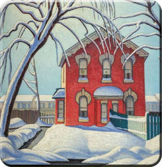 Lawren Harris Red House in Winter Hard Coaster