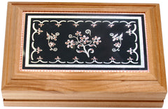 Floral Design Rectangular Wooden Box