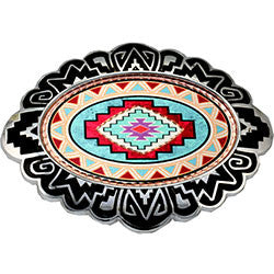 Native Design Colourful Belt Buckle